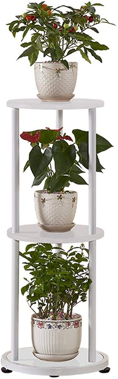 Qing MEI Simple Modern Wrought Iron Flower Stand 3 Sets of Flower Pot Rack in Living Room Floor-Mounted Indoor Space Round Flower Stand A++ (color   A)