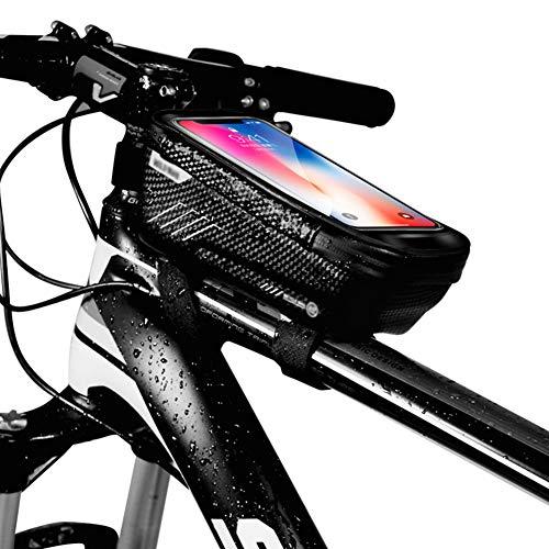 Bolsas de Bicicleta, Impermeable Cuadro Bicicleta Manillar Bolsa Táctil Pantalla Telefono Bolsa Tubo Compatible con Smartphone Menos de 6.5?? (Black)