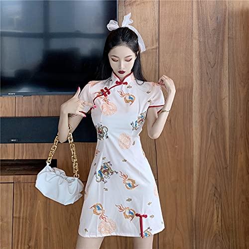 CIDCIJN Vestido Chino - Estampado Ropa Oriental Tradicional Slim Qipao Mujeres Estilo Chino Cheongsam Elegante Moda Mini Vestido, Blanco, L