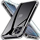 Kensou Progettato per Cover iPhone 12 Pro Max con 2 Vetro Temperato, Anti-Caduta e Morbido Compatibile con Custodia iPhone 12 Pro Max - 6.7 Pollici Trasparente