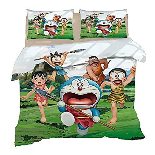 XWXBB Doraemon - Juego de ropa de cama (3 piezas, con funda de edredón 3D) Juego de funda nórdica de 3 piezas (funda nórdica + 2 fundas de almohada), grueso y suave., A12, Double 200x200cm