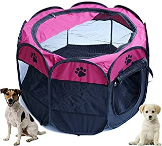 Pop Up Tent Pet Playpen Carrier Dog Cat Puppies Portable Foldable Durable Paw Kennel Rose M