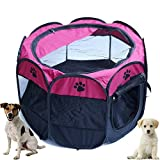 Horing Pop Up Carpa Pet Playpen Carrier Perro Gato Cachorros Portátil Plegable Durable Canina Rosa M