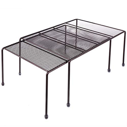 Expandable Stackable Kitchen Cabinet and Counter Shelf Organizer,Kitchen Shelves, Cabinet Organization,Bronze