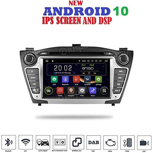 Android 10 GPS DVD USB SD WI-FI Bluetooth Mirrorlink Autoradio 2 DIN Navi kompatibel mit Hyundai IX35 2009-2015