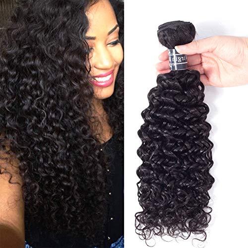 Amella, cabello brasileño, virgen, rizado, humano, de grado 8A. Un paquete de 3.35onzas, 20 pulgadas, 100% sin procesar, extensiones de color negro natural