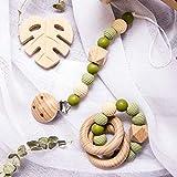 Mamimami Home 3pc Silikon Perlen Threaded Perlen Holz Ring handgefertigte Armband aus Holz Lebensmittel Kinderkrankheiten Spielzeug für Baby Montessori Spielzeug