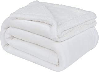 uxcell Sherpa Fleece Blanket Reversible Plush Flannel Throw Blanket Fuzzy Soft Microfiber Blanket for Sofa Couch or Bed, Off White-White Twin,60