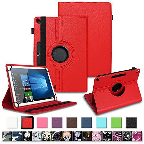 Tablet Tasche für Archos 101f 101e Neon 101b Oxygen Schutzhülle hochwertiges Kunstleder Hülle Standfunktion 360° Drehbar 10.1 Zoll Universal Case, Farben:Rot