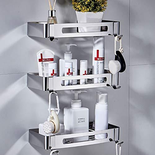 Badezimmerregal Duschregal Rostfreie Eckduschkabine für Badezimmer Küchenorganisator 304 Edelstahl praktisch (Rechteck Silber 3 Packungen)