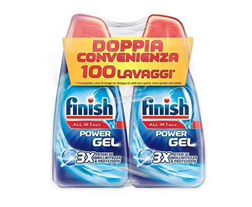 Finish Detersivo Per Lavastoviglie, 100 Lavaggi, Powergel, 2 Confezioni Da 50 Lavaggi