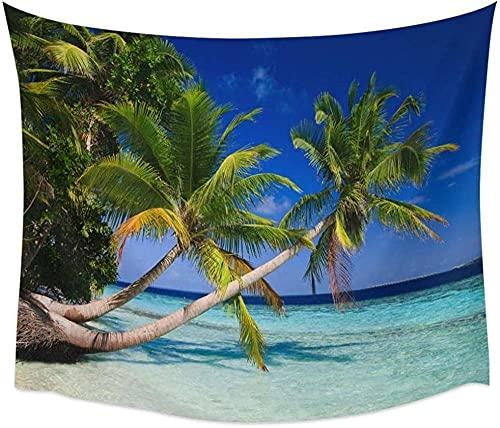 Tapiz Cielo Azul Mar Palmeras Tropicales Paisaje Junto al mar Artículos para el hogar Estera de Picnic al Aire Libre Hogar150 * 200Cm