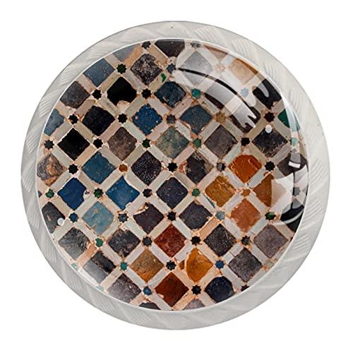 Decoración de azulejos Alhambra Palace España, 4 unidades de pomos de gabinete de cocina de resina ABS Tiradores de tiradores de impresión redonda de aparador de cajones Manijas de puerta de gabinete