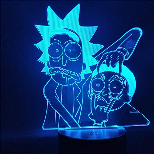 3D-Illusionslampe, Rick und Morty Cartoon 3D-Nachtlicht Kinder-Nachtlampe LED mit 7/16 Farben LED-Tischlampe für Schlafzimmer-Weihnachtsgeschenk ändern