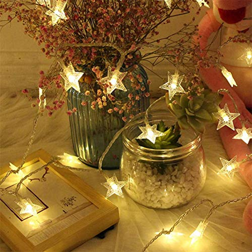 SUNUQ Christmas Day USB Lantern 20LED Pentagram Shaped Decorative Light String Decor for Christmas Tree Party Home Bedroom Outdoor Wall Lawn Patio Garden Angel Bell Lights 7.5Ft
