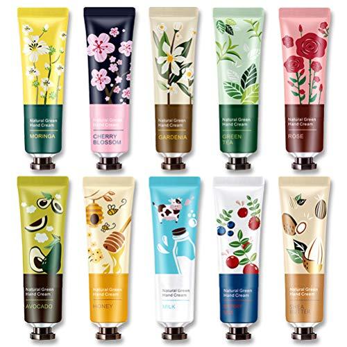 Vssictor Juego de cremas de Manos - Paquete de 10 cremas de Manos enriquecidas con Aceite Esencial de Plantas para nutrir e hidratar profundamente Las Manos ásperas, los Mejores Regalos para Mujeres