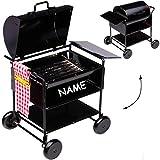alles-meine.de GmbH Miniatur -  Grill / Grillwagen - BBQ mit Deckel  - inkl. Name - aus Metall / Maßstab 1:12 - Diorama - Servierwagen - Barbecue - Garten Grillen - Kochen - FL..