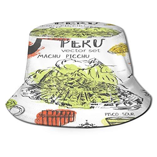 Sombrero Pescador Unisex,Inca de símbolos Perú cultura peruana típica con salpicaduras de color,Plegable Sombrero de Pesca Aire Libre Sombrero Bucket Hat para Excursionismo Cámping De Viaje Pescar