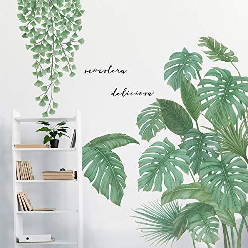 Grüne Bananenblatt tropische Pflanzen Wandaufkleber, Abnehmbare Baum Blätter Tapete Wandtattoo, DIY Wandkunst Dekor Wohnaccessoires Wandsticker (Monstera Leaf B)