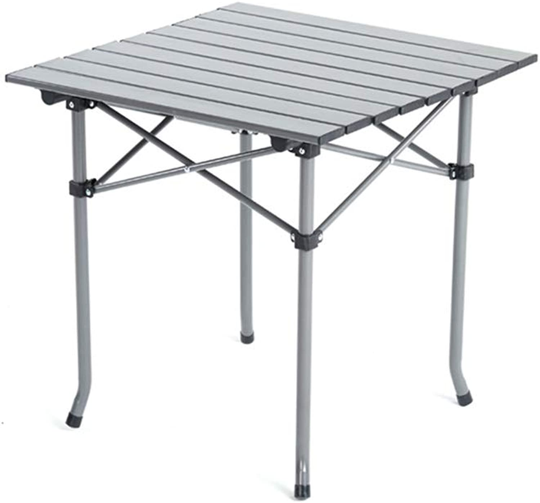 Folding Table Rectangular Aluminum Crawler-Type Folding, Good Anti-Slip Stability, 80Kg Load Capacity, Silver (Size   51 × 50 ×51cm)