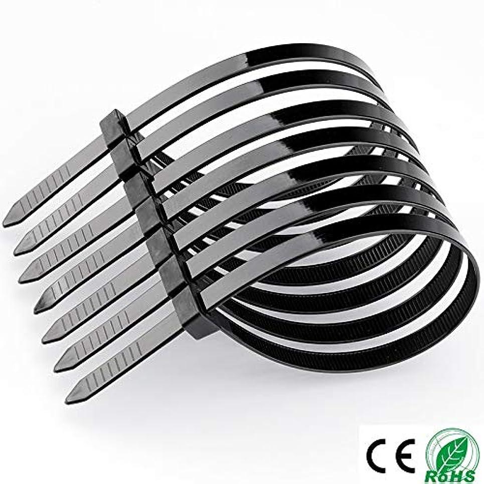 ユーザーリーチ提案タグジップタイ 100PCSセルフロックプラスチックナイロンワイヤーケーブルジップネクタイ締めループブラックケーブルタイ LKYJP (Color : ブラック, Size : 5x200mm 100pcs black)