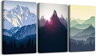 Canvas Wall Art for Living Room Wall decor posters Landscape painting Wall Artworks Pictures Bedroom Decoration, Mountain in Daytime sun,12x16 inch/piece, 3 Panels Abstract Canvas Prints bathroom art