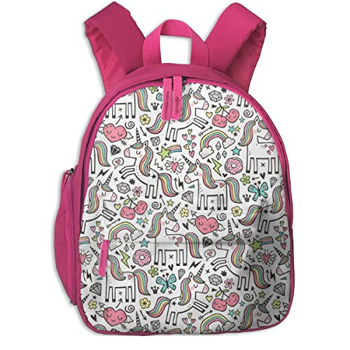 Zaino per bambini 2 anni,Unicorno U0026 Hearts Rainbow Love Valentine Doodle On White_2737 - caja_design, Per scuole per bambini Oxford cloth (rosa)
