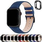 Correa para Apple Watch, Fullmosa Correas de Cuero Genuino Compatible con Apple Watch SE Series 7 Series 6 Series 5 Series 4, Series 3/2/1, Azul oscuro + hebilla de Negro ,42mm/44mm/45mm
