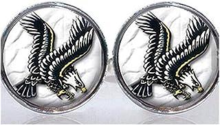 Redondo Cristal en mosaico Gemelos diseño Retro de tatuaje Eagle
