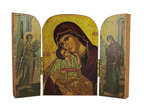 Ferrari & Arrighetti Tríptico de la Virgen de Vladimir y la Anunciación Estilo bizantino - 10 x 7 cm (Paquete de 10 Piezas)