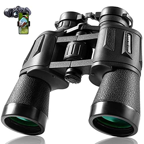 FREE SOLDIER 10x50 Fernglas - Fernglas Erwachsene mit Nachtsicht bei Schwachem Licht, BAK4 Prism FMC-Objektiv Kompaktes Ferngläser mit Smartphone-Adapter zur Wandern Vögel Beobachten Jagd, Schwarz