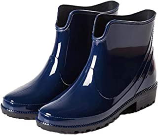Fashion Short Rain Boots for Women-Waterproof Non-Slip Black Ankel Rubber Chelsea Rain Booties Shoes