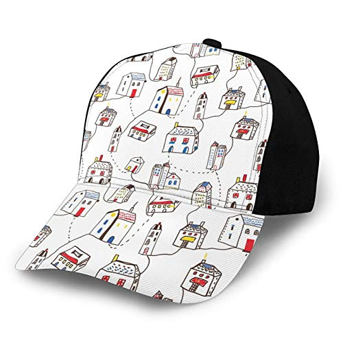 FULIYA Gorra de béisbol unisex borde abstracto ciudad con muchas casas y caminos de línea simple expresión de vida urbana tela de sarga de poliéster sombrero de papá gorra de béisbol