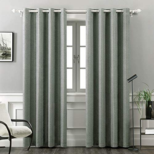 MIULEE Thermal Insulated Linen Curtain for Living Room Darkening Farmhouse Grommet Textured Window Blackout Drape Light Block Out for Bedroom 1 Panel W 52 x L 84 Inches Grey