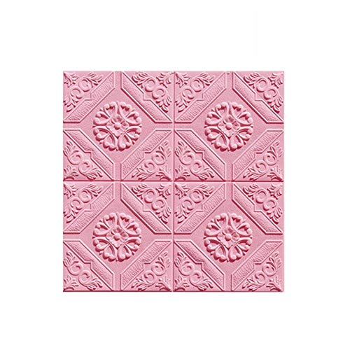 Stock-Tapete 3D Dekoration BedroomLiving-Raum-Hintergrund Wanddekoration Stock-Tapete - Self Adhesive Wallpaper Geprägte 3D Wallpaper (50 Stück) (Color : Pink)