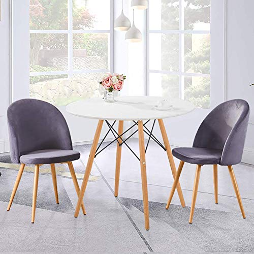 Mesa redonda y 2 sillas Mesa de cocina de madera con 2 asientos suaves de terciopelo, 80 cm,All Grey