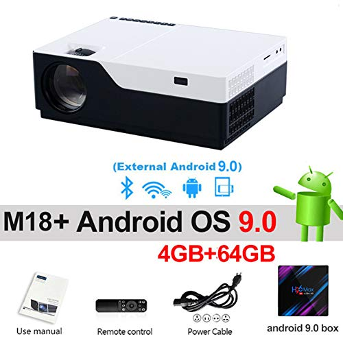 GBBG Full HD Video Projector, 920 * 1080P Resolution, Compatible with TV Stick Tvbox Xbox PS3 PS4 PC Laptop Smartphone, Suitable for Home Office Teaching Multi-Function Android Projector