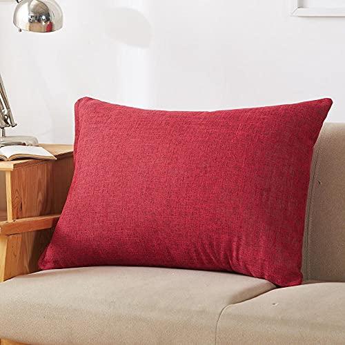 Funda de almohada de lino verde gris trasero Funda de cojín Sala de estar Fundas de almohada de cama de hotel Fundas de almohada - Rojo_50x70CM