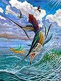 ZXXGA Pintura De Diamantes para Adultos,Mar de Pesca de pez Vela 40x50cm,estrás Bordado,Punto de Cruz,Suministros artísticos para Manualidades decoración de Pared
