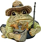 Homestyles Toad Hollow #94014 Figurine Angler Fisherman with Fish in Pail, Fishing Pole, Hat with Lures Sports Character Garden Statue Large 8.5' h Toad Figure Natural Brown