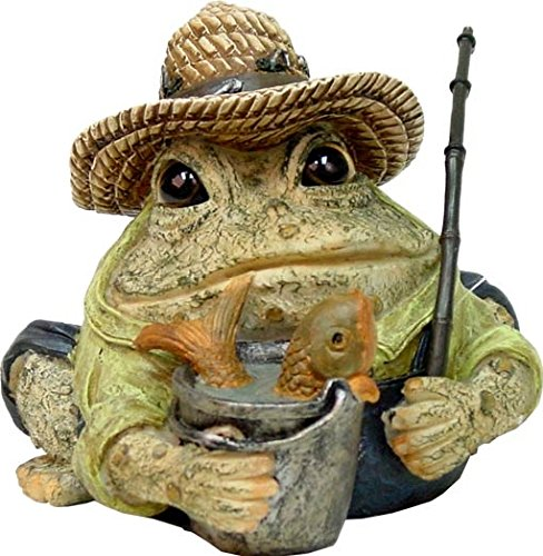 Homestyles Toad Hollow #94014 Figurine Angler Fisherman with Fish in Pail, Fishing Pole, Hat with Lures Sports Character Garden Statue Large 8.5