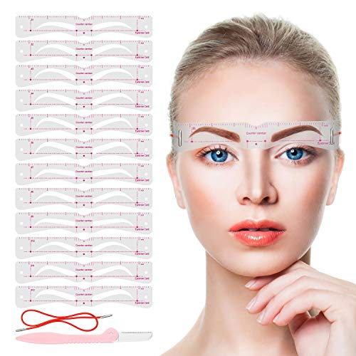 Eyebrow Stencils,12PCS Eyebrow Shaper Kit,Reusable Eyebrow Template With Strap and Eyebrow Razor,3 Minutes Eyebrow Makeup Tools For A Variety of Face