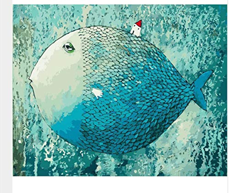 WGXCC Chenistory Blau Fish DIY Digitale Malerei nach Zahlen mit abstrakten Wohnkultur 50x65cm Kits Färbung Malen nach Zahlen für Kinder giftframeless Digitale Malerei B07JKZCF79 | Deutsche Outlets