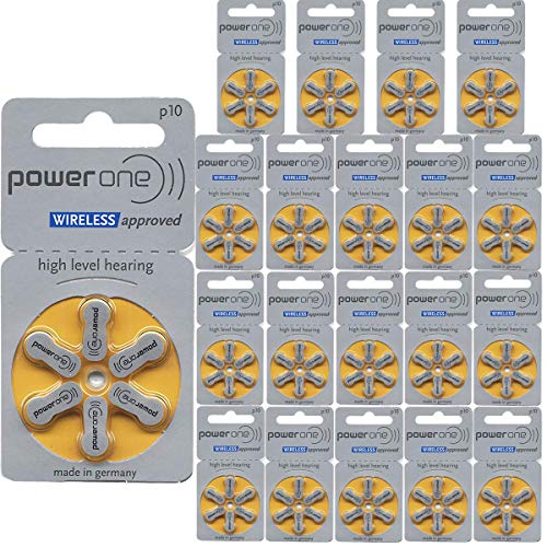Power One Size 10 No Mercury Hearing Aid Batteries (120)