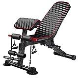 Panca Bench con Arm Curl, Leg Extension e schienale regolabile, panca pesi multifunzione, panca da...