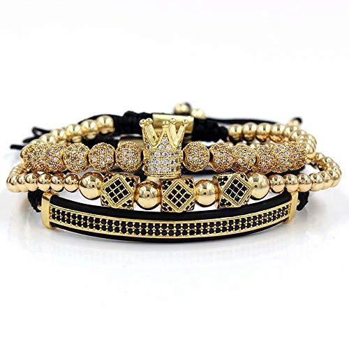 3 Teilesatz Luxus CZ Crown Geflochtene Kupfer Armbänder, Geflochtene Justierbare Kupfer Armbänder mit Micro Pave Zirkonia Perlen Armreif, Charm Armbänder für Männer und Frauen