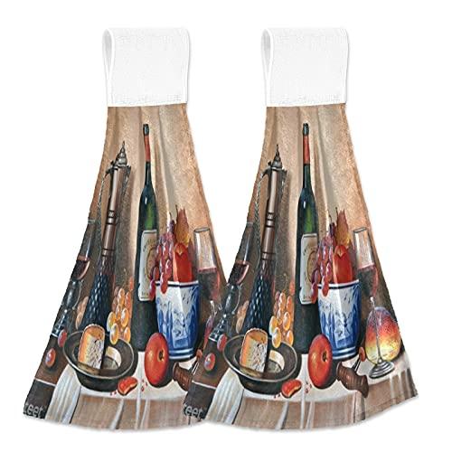 Oarencol Botella de vino tinto de cristal toalla de mano de cocina vintage queso uva pintura de fruta absorbente colgar toallas de corbata con lazo para baño 2 piezas