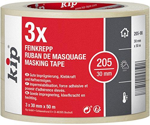Kip Tape 205-98 Feinkrepp – Professionelles Malerkrepp – Imprägniertes Abdeckband zum Streichen & Lackieren – 3 Rollen je 30mm x 50m