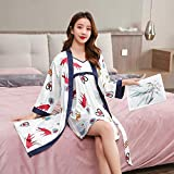 STJDM Bata de Noche,Satin Intimate Lingerie Robe Set Mujeres Imprimir Kimono Albornoz Vestido Primavera Nueva Ropa de Dormir Casual 2PCS Ropa de Dormir Ropa de casa XXL Style2