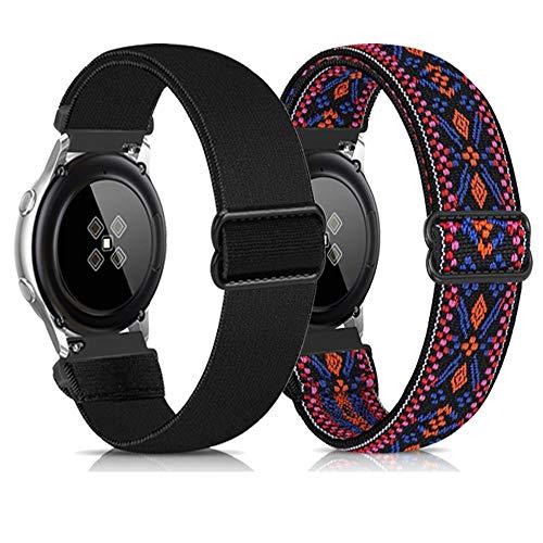 Zoholl Correa de nailon compatible con Garmin Vivoactive3 / Galaxy Watch Active2 40 mm 44 mm Galaxy Watch 42 mm, suave y transpirable (20 mm negro + rojo bohemio)